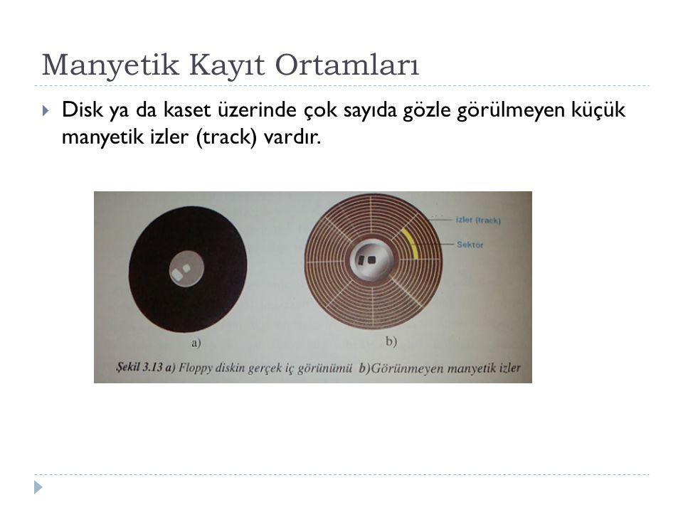 Manyetik Kayıt Ortamları  Disk ya da kaset üzerinde çok sayıda gözle görülmeyen küçük manyetik izler (track) vardır.