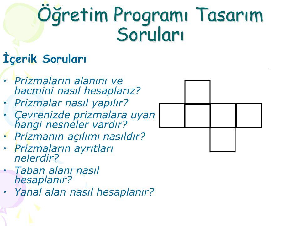 Öğretim Programı Tasarım Soruları İçerik Soruları Prizmaların alanını ve hacmini nasıl hesaplarız.