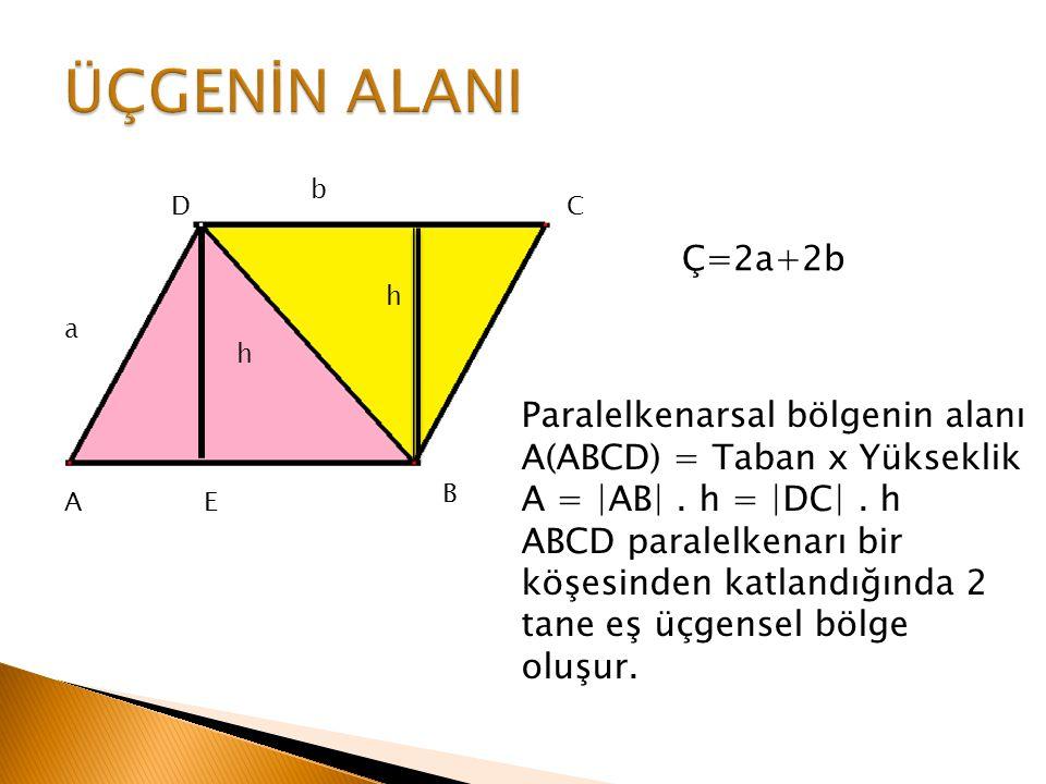 A B C E D h h Ç=2a+2b a b Paralelkenarsal bölgenin alanı A(ABCD) = Taban x Yükseklik A = |AB|. h = |DC|. h ABCD paralelkenarı bir köşesinden katlandığ
