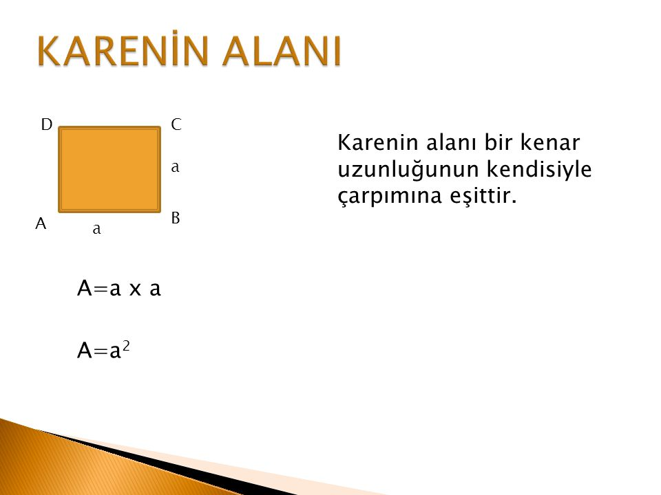 ÖRNEK Bir kenar uzunluğu 5 cm olan karesel bölgenin, alanının çevre uzunluğuna oranı nedir.