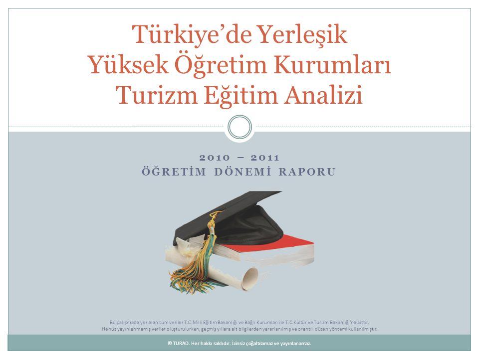 Turizm Eğitimi Veren Yüksek Öğretim Birimlerinin Türlerine Göre Sayısal Dağılımları Türkiye sınırları içinde toplam 154 üniversite, 939 fakülte, 293 yüksekokul, 523 meslek yüksekokulu ve 405 enstitü yüksek öğretim hizmeti sunuyor.
