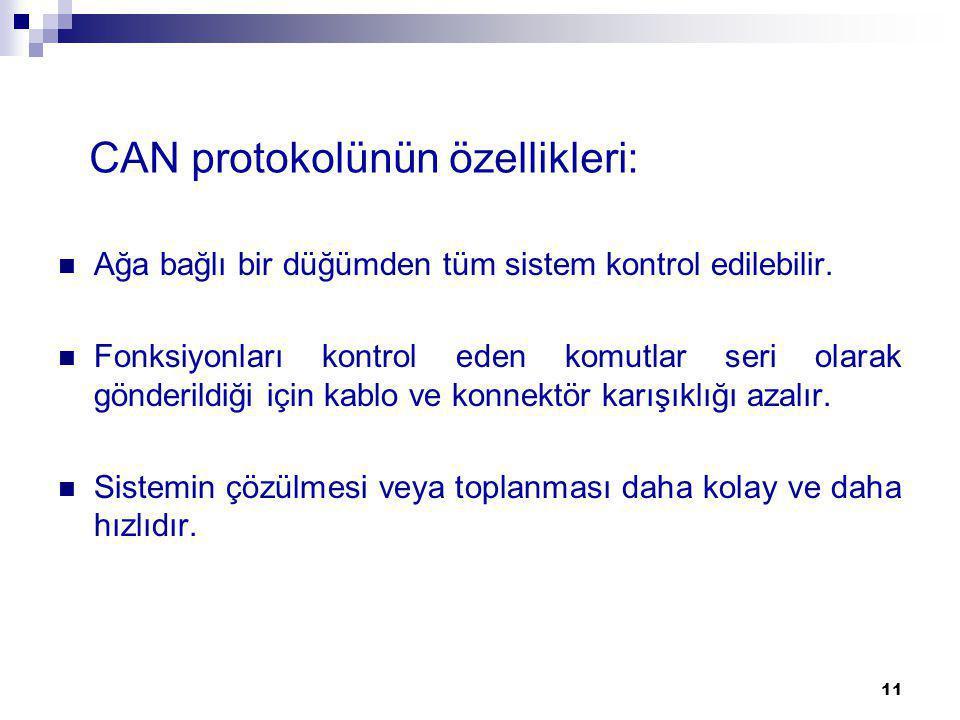 CAN protokolünün özellikleri: Ağa bağlı bir düğümden tüm sistem kontrol edilebilir. Fonksiyonları kontrol eden komutlar seri olarak gönderildiği için