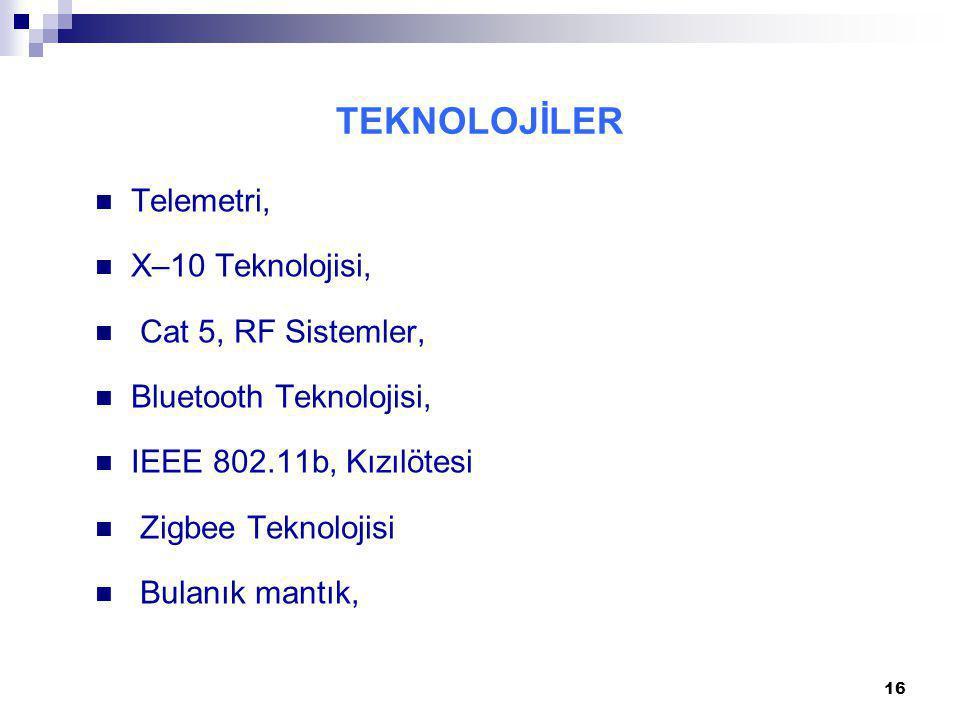 TEKNOLOJİLER Telemetri, X–10 Teknolojisi, Cat 5, RF Sistemler, Bluetooth Teknolojisi, IEEE 802.11b, Kızılötesi Zigbee Teknolojisi Bulanık mantık, 16