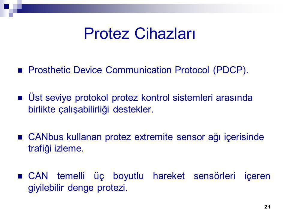 Protez Cihazları Prosthetic Device Communication Protocol (PDCP). Üst seviye protokol protez kontrol sistemleri arasında birlikte çalışabilirliği dest