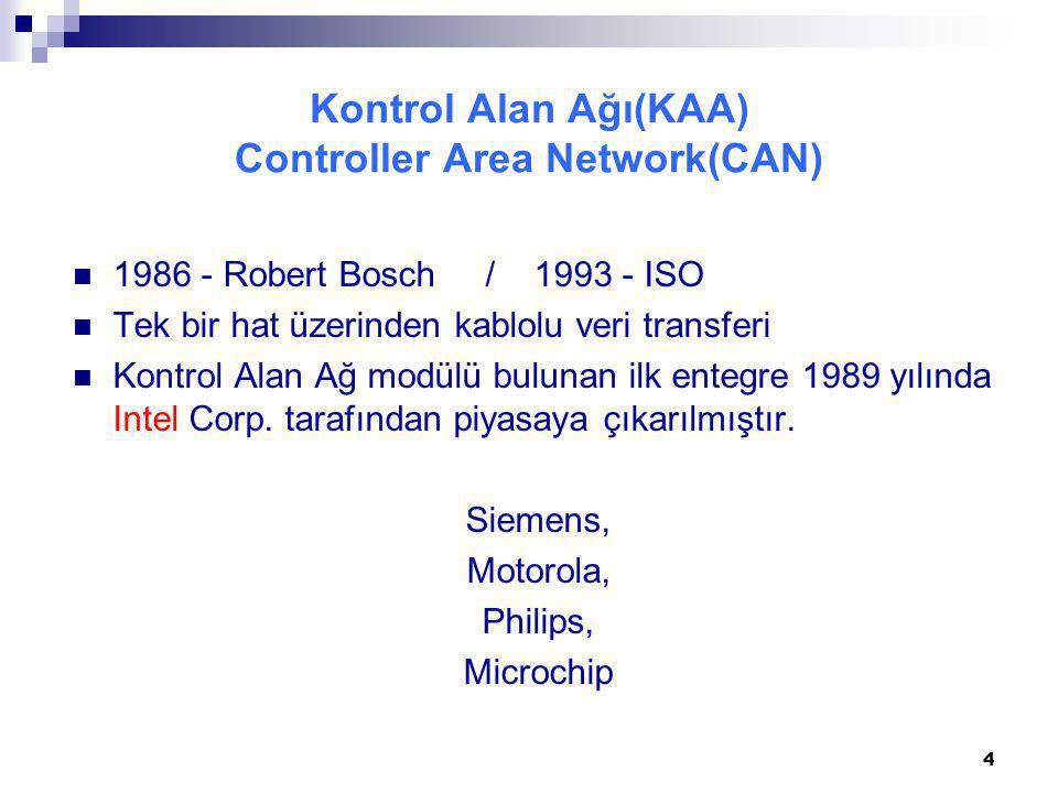 Kontrol Alan Ağı(KAA) Controller Area Network(CAN) 1986 - Robert Bosch / 1993 - ISO Tek bir hat üzerinden kablolu veri transferi Kontrol Alan Ağ modül