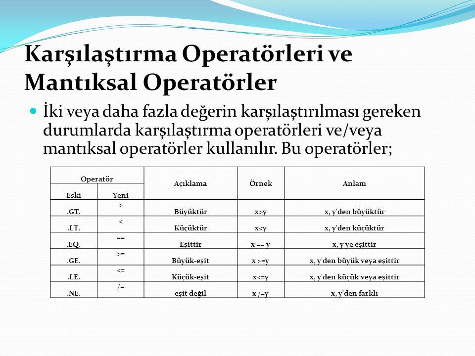 Karşılaştırma Operatörleri ve Mantıksal Operatörler İki veya daha fazla değerin karşılaştırılması gereken durumlarda karşılaştırma operatörleri ve/veya mantıksal operatörler kullanılır.