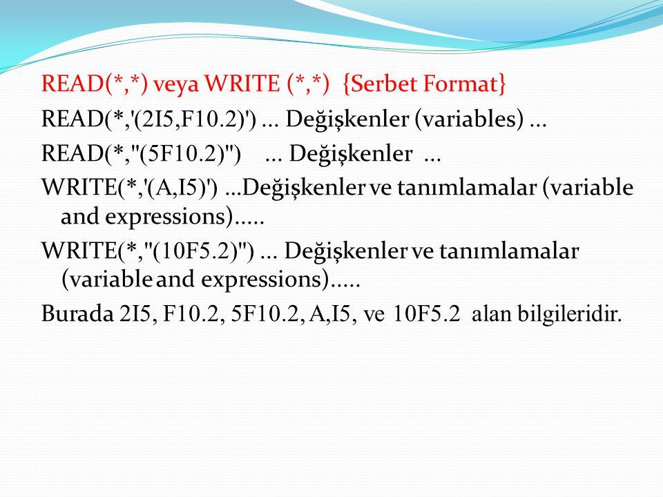 READ(*,*) veya WRITE (*,*) {Serbet Format} READ (*, (2I5,F10.2) )...