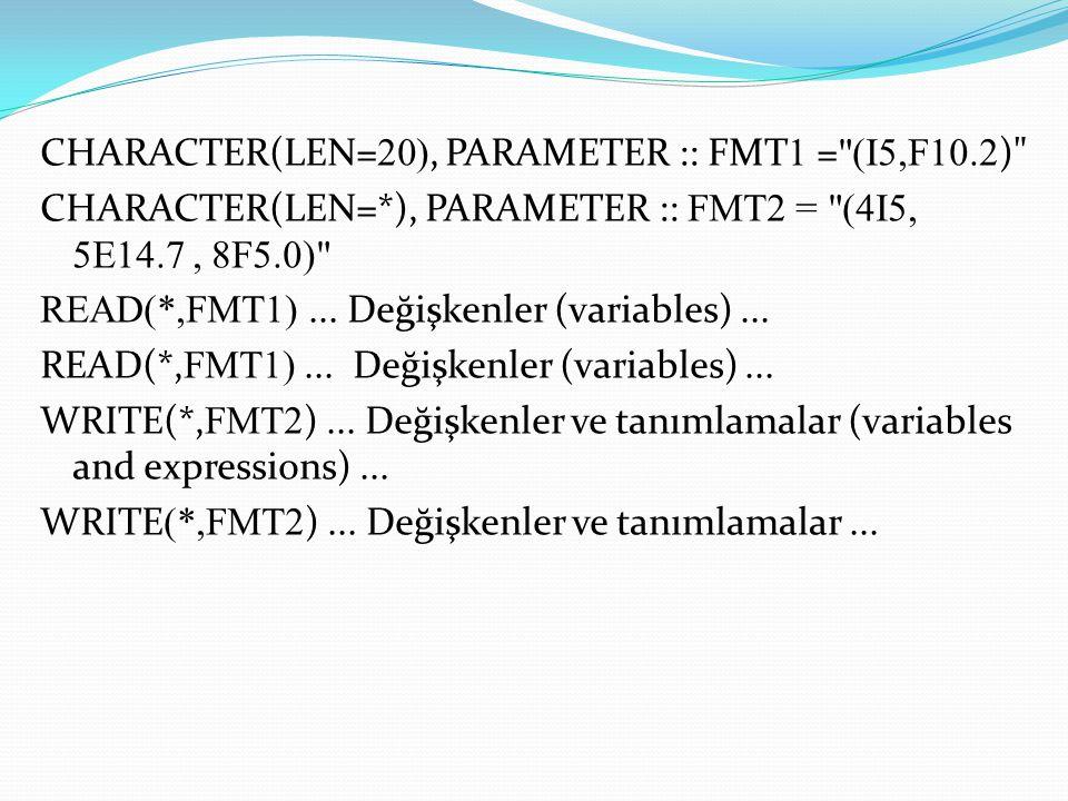 CHARACTER(LEN= 20), PARAMETER :: FMT 1 = (I5,F10.2 ) CHARACTER(LEN=*), PARAMETER :: FMT2 = (4I5, 5E14.7, 8F5.0) READ(*,FMT1)...