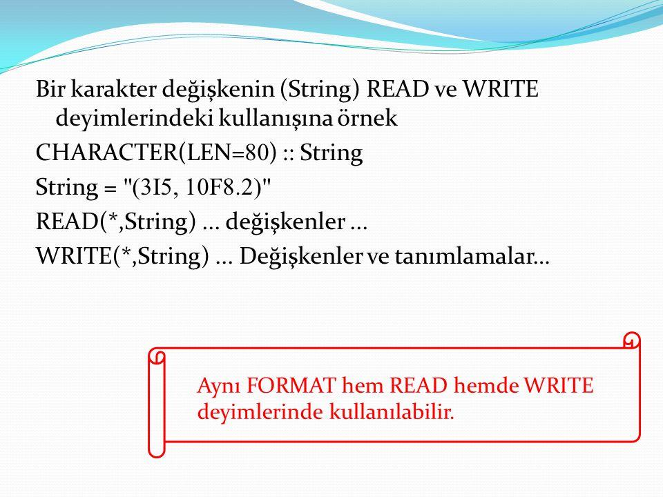 Bir karakter değişkenin (String) READ ve WRITE deyimlerindeki kullanışına örnek CHARACTER(LEN= 80 ) :: String String = (3I5, 10F8.2) READ(*,String)...