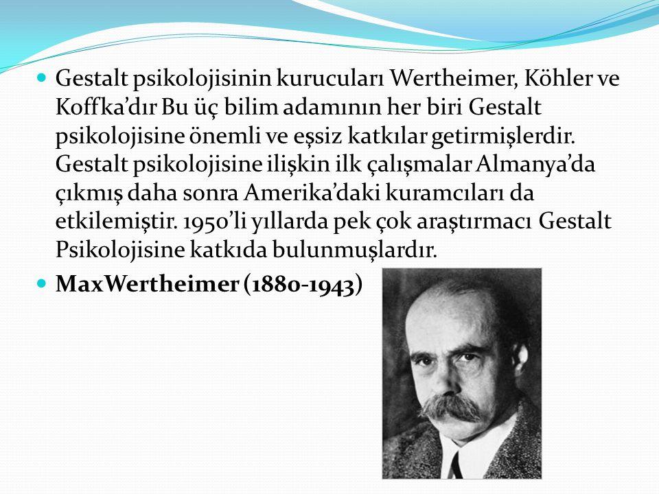 Gestalt psikolojisinin kurucuları Wertheimer, Köhler ve Koffka'dır Bu üç bilim adamının her biri Gestalt psikolojisine önemli ve eşsiz katkılar getirmişlerdir.