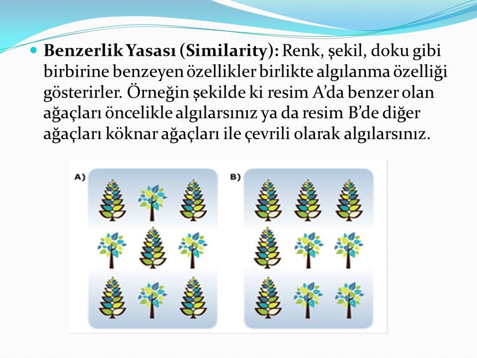 Benzerlik Yasası (Similarity): Renk, şekil, doku gibi birbirine benzeyen özellikler birlikte algılanma özelliği gösterirler. Örneğin şekilde ki resim