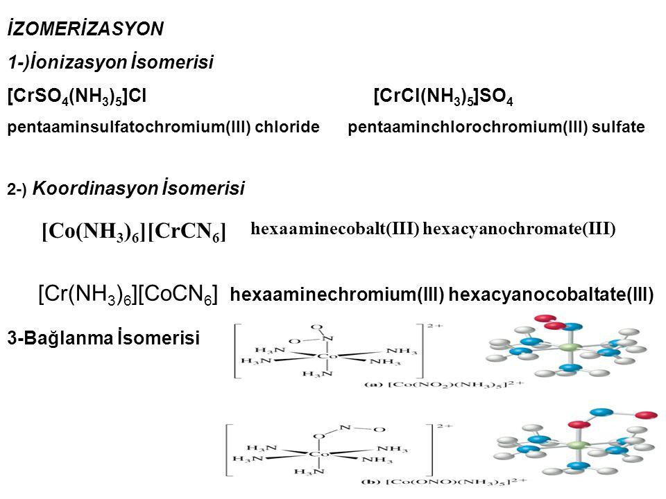 İZOMERİZASYON 1-)İonizasyon İsomerisi [CrSO 4 (NH 3 ) 5 ]Cl [CrCl(NH 3 ) 5 ]SO 4 pentaaminsulfatochromium(III) chloride pentaaminchlorochromium(III) s