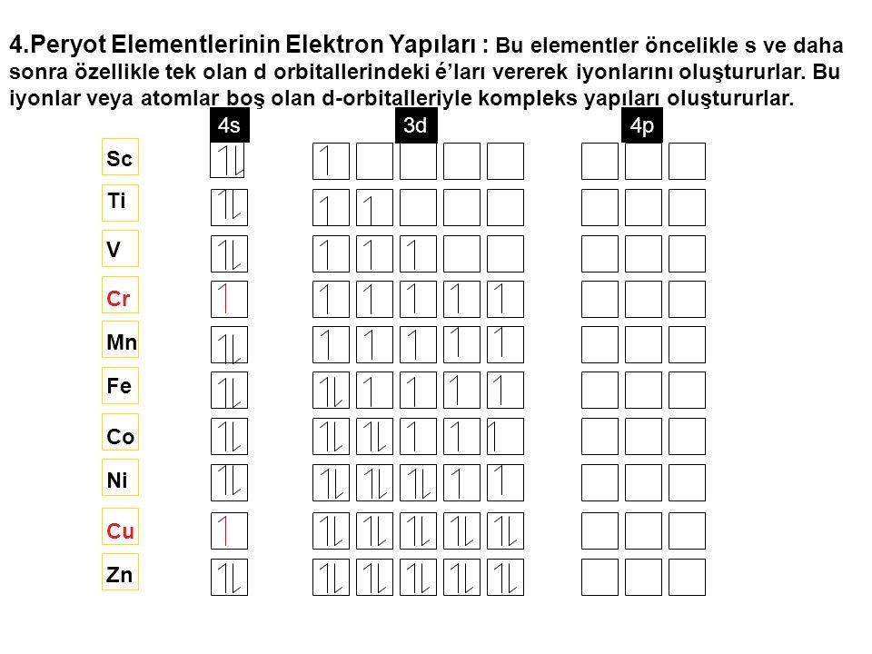 4.Peryot Elementlerinin Elektron Yapıları : Bu elementler öncelikle s ve daha sonra özellikle tek olan d orbitallerindeki é'ları vererek iyonlarını ol