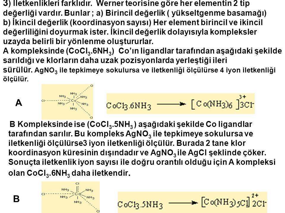 3 ) İletkenlikleri farklıdır. Werner teorisine göre her elementin 2 tip değerliği vardır. Bunlar ; a) Birincil değerlik ( yükseltgenme basamağı) b) İk