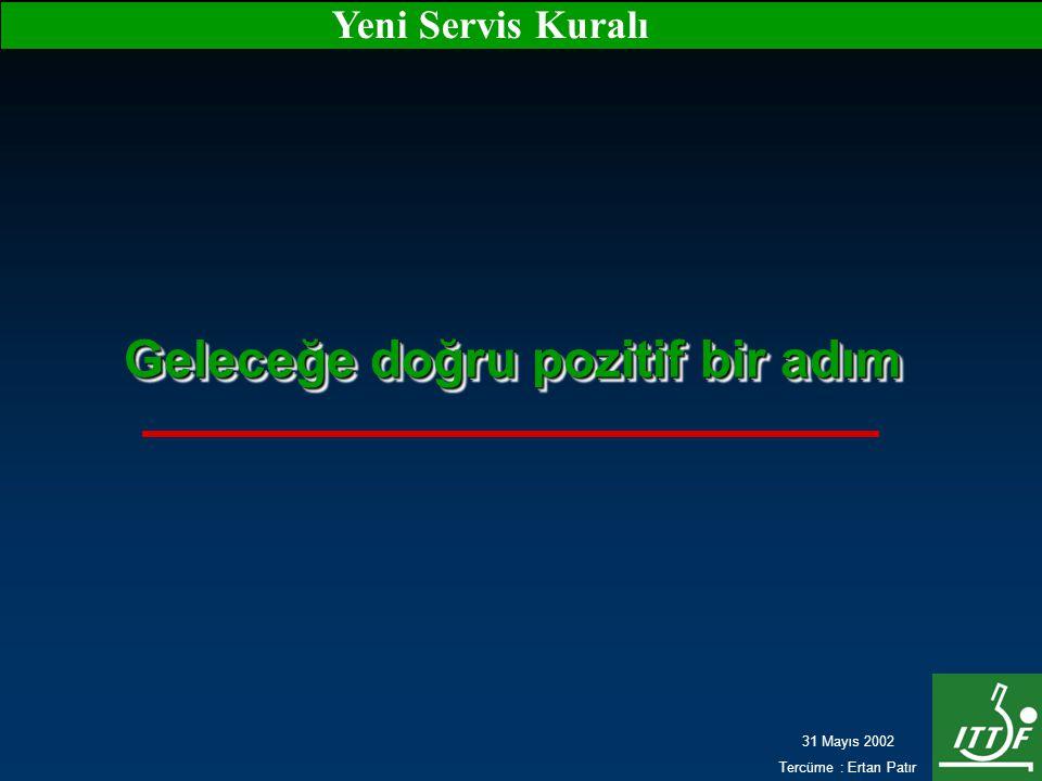 31 Mayıs 2002 Tercüme : Ertan Patır Yeni Servis Kuralı Geleceğe doğru pozitif bir adım