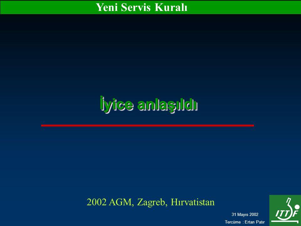 31 Mayıs 2002 Tercüme : Ertan Patır Yeni Servis Kuralı İyice anlaşıldı 2002 AGM, Zagreb, Hırvatistan