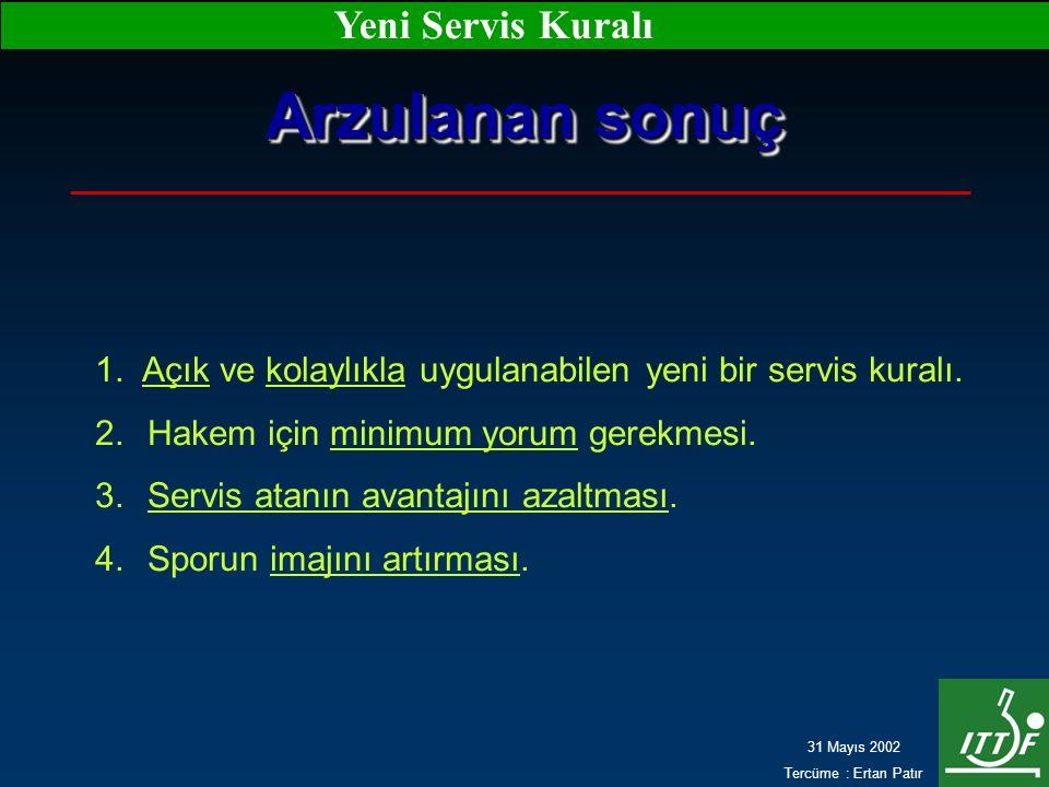31 Mayıs 2002 Tercüme : Ertan Patır Yeni Servis Kuralı Arzulanan sonuç 1. Açık ve kolaylıkla uygulanabilen yeni bir servis kuralı. 2.Hakem için minimu