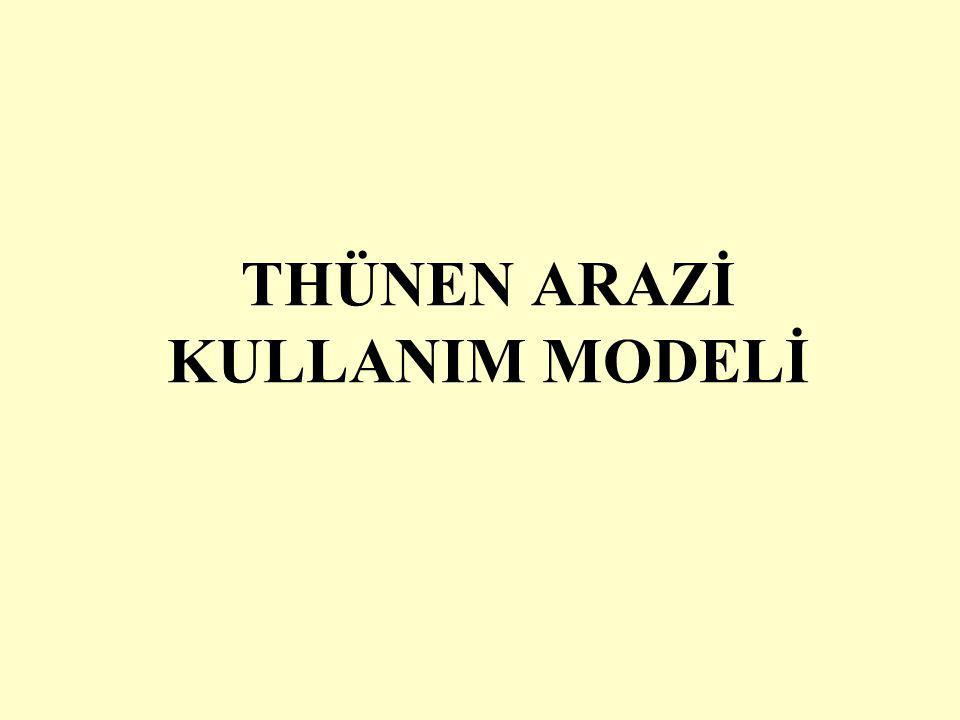 Thünen modeli Von Thünen taşıma harcamalarının üretimde büyük bir engel oluşturduğunu görerek, pazar kentinden uzaklaştıkça hangi ürünlerin yetiştirilmesinin daha ekonomik olacağını saptayama çalışmıştır.