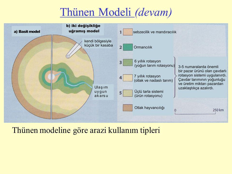 Thünen modeline göre arazi kullanım tipleri Thünen Modeli (devam)
