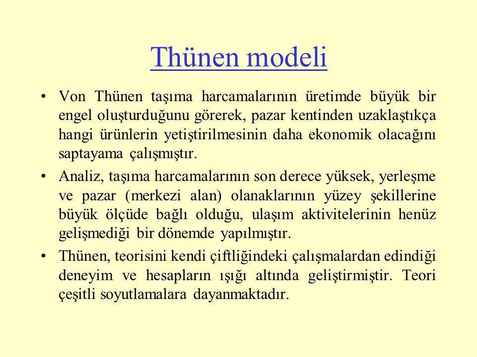 Thünen modelinde bazı basitleştirmeler (soyutlamalar) yapılmıştır.