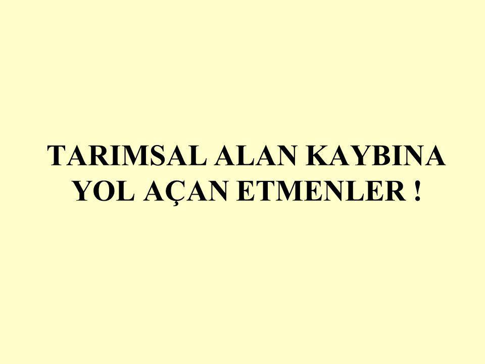 TARIMSAL ALAN KAYBINA YOL AÇAN ETMENLER !