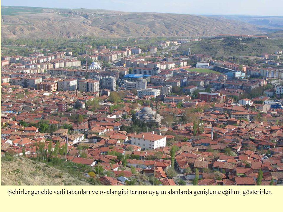 Şehirler genelde vadi tabanları ve ovalar gibi tarıma uygun alanlarda genişleme eğilimi gösterirler.