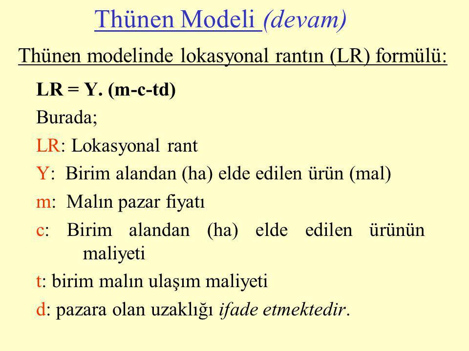 Thünen modelinde lokasyonal rantın (LR) formülü: LR = Y.