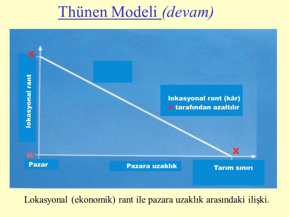 Lokasyonal (ekonomik) rant ile pazara uzaklık arasındaki ilişki. Thünen Modeli (devam)