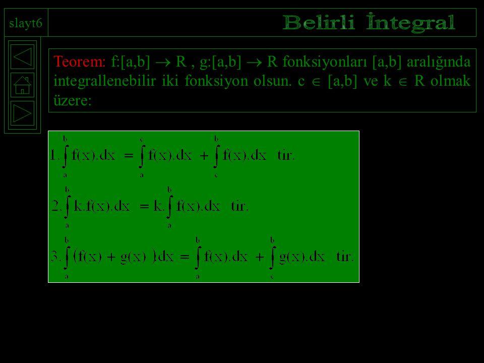 slayt6 Teorem: f:[a,b]  R, g:[a,b]  R fonksiyonları [a,b] aralığında integrallenebilir iki fonksiyon olsun. c  [a,b] ve k  R olmak üzere: