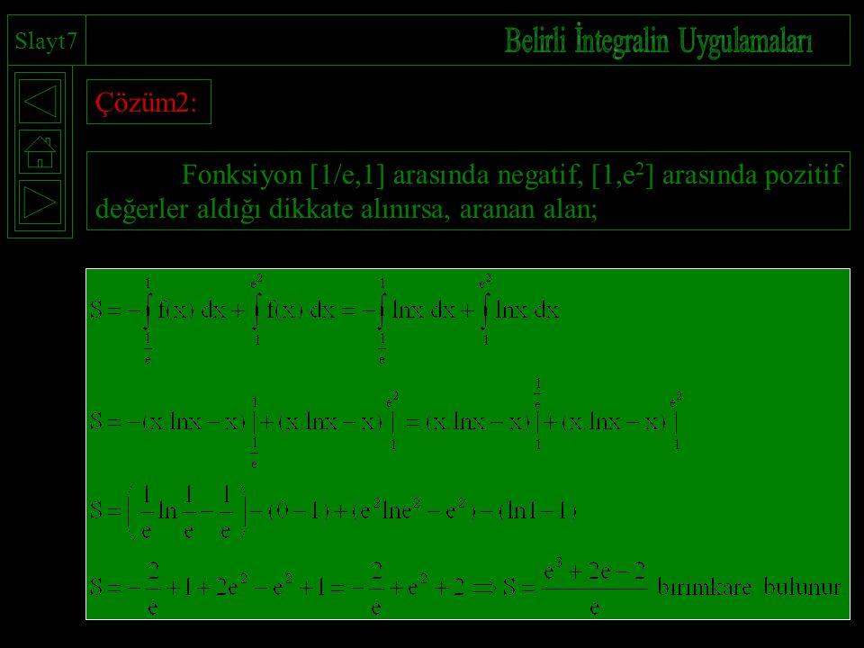 Slayt7 Çözüm2: Fonksiyon [1/e,1] arasında negatif, [1,e 2 ] arasında pozitif değerler aldığı dikkate alınırsa, aranan alan;