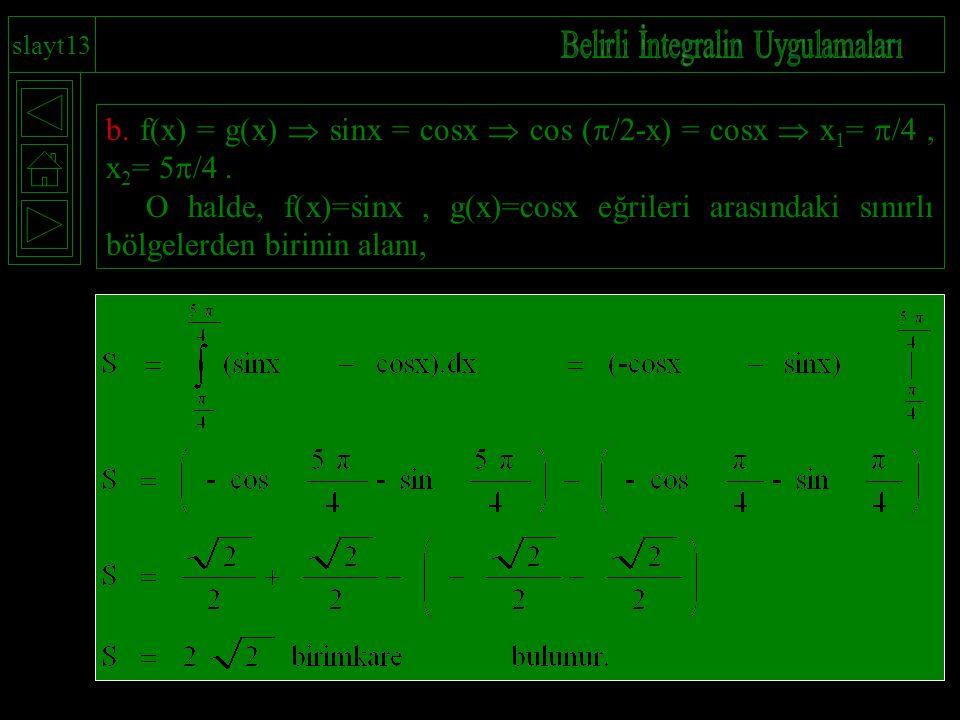 slayt13 b. f(x) = g(x)  sinx = cosx  cos (  /2-x) = cosx  x 1 =  /4, x 2 = 5  /4. O halde, f(x)=sinx, g(x)=cosx eğrileri arasındaki sınırlı bölg