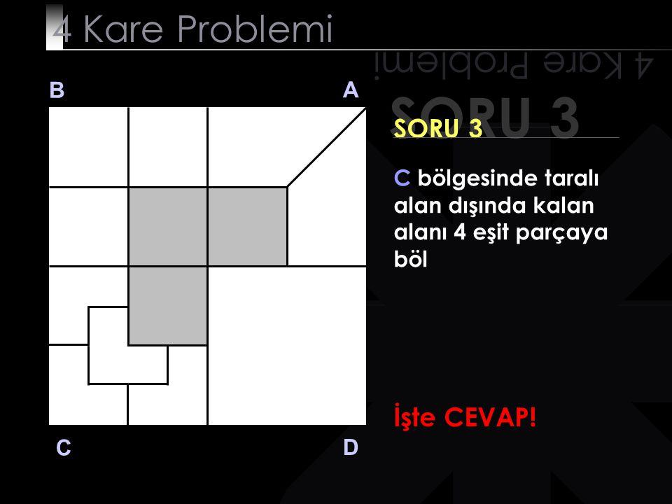 SORU 3 4 Kare Problemi B A D C SORU 3 C bölgesinde taralı alan dışında kalan alanı 4 eşit parçaya böl Acele etme. Cevabı görmek istediğinde tıkla!tıkl