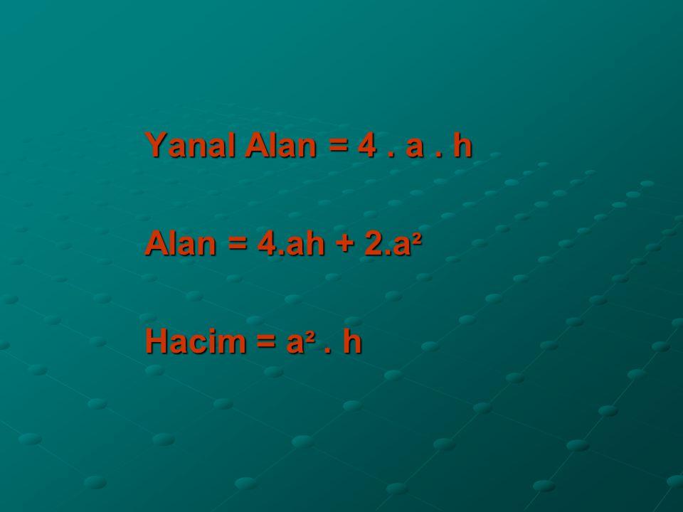 Yanal Alan = 4. a. h Alan = 4.ah + 2.a ² Hacim = a ². h