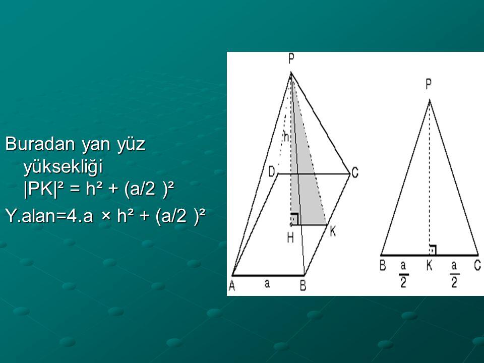 Buradan yan yüz yüksekliği |PK|² = h² + (a/2 )² Y.alan=4.a × h² + (a/2 )²