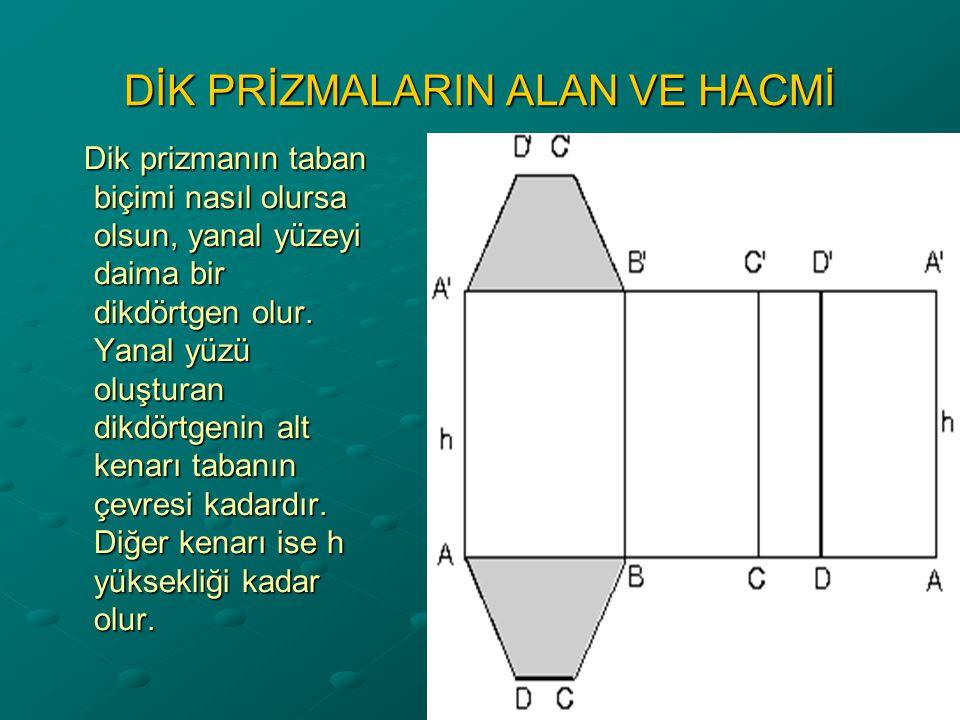 Yanal Alan = Taban çevresi x Yükseklik Bütün dik prizmaların yanal alanı taban çevresi ile yüksekliğin çarpımıdır.
