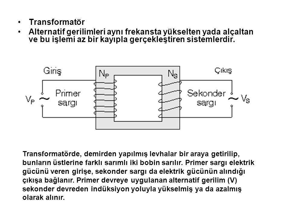 Transformatör Alternatif gerilimleri aynı frekansta yükselten yada alçaltan ve bu işlemi az bir kayıpla gerçekleştiren sistemlerdir. Transformatörde,
