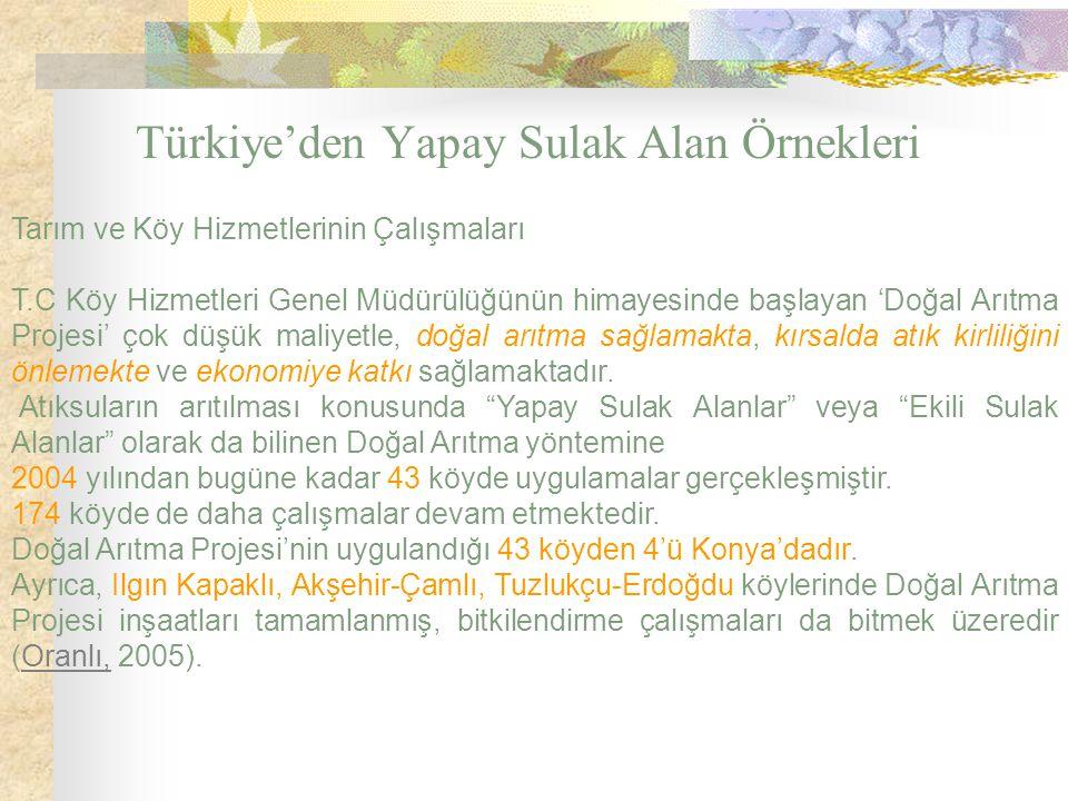 Türkiye'den Yapay Sulak Alan Örnekleri Tarım ve Köy Hizmetlerinin Çalışmaları T.C Köy Hizmetleri Genel Müdürülüğünün himayesinde başlayan 'Doğal Arıtm