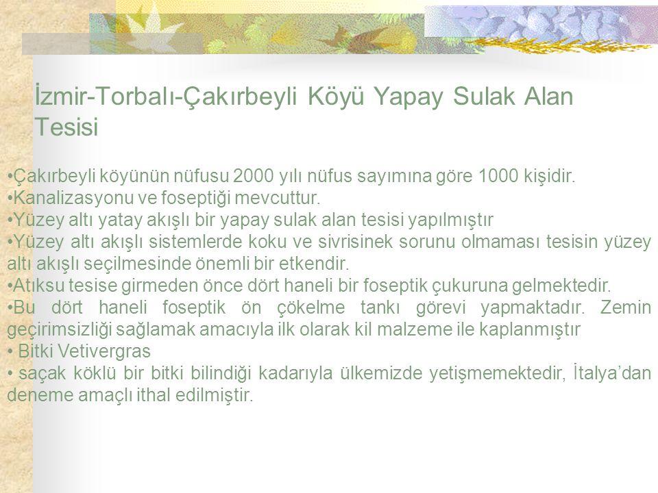 İzmir-Torbalı-Çakırbeyli Köyü Yapay Sulak Alan Tesisi Çakırbeyli köyünün nüfusu 2000 yılı nüfus sayımına göre 1000 kişidir. Kanalizasyonu ve foseptiği