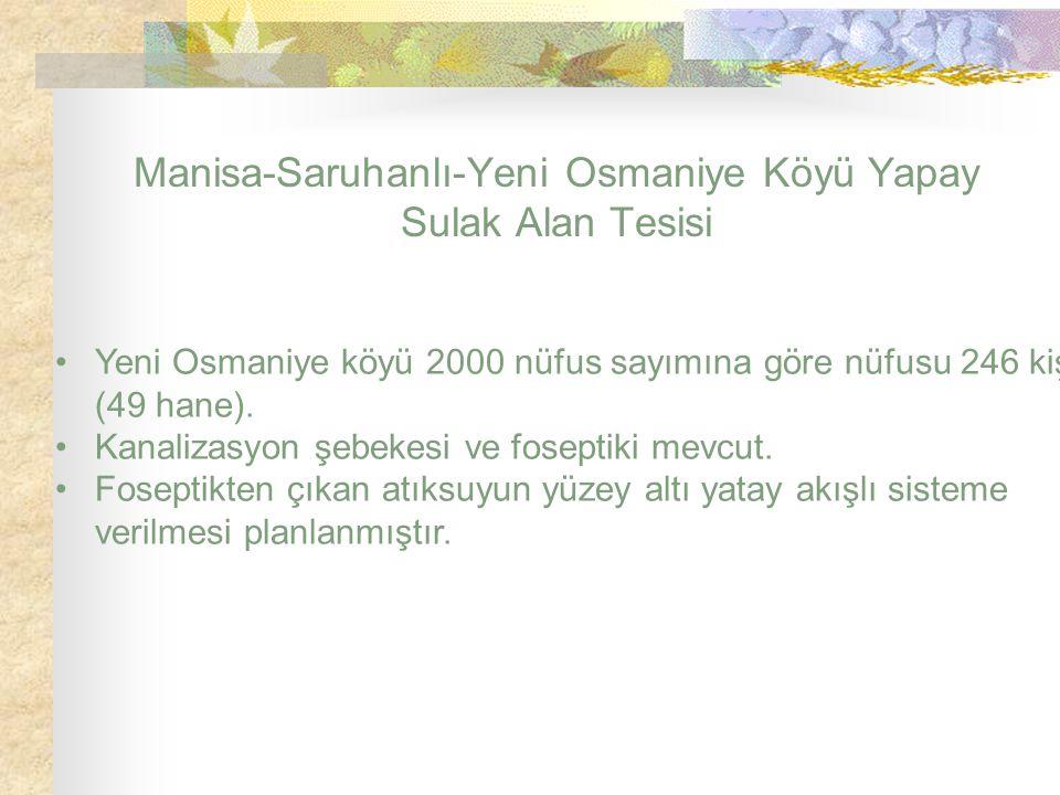 Manisa-Saruhanlı-Yeni Osmaniye Köyü Yapay Sulak Alan Tesisi Yeni Osmaniye köyü 2000 nüfus sayımına göre nüfusu 246 kişi (49 hane). Kanalizasyon şebeke