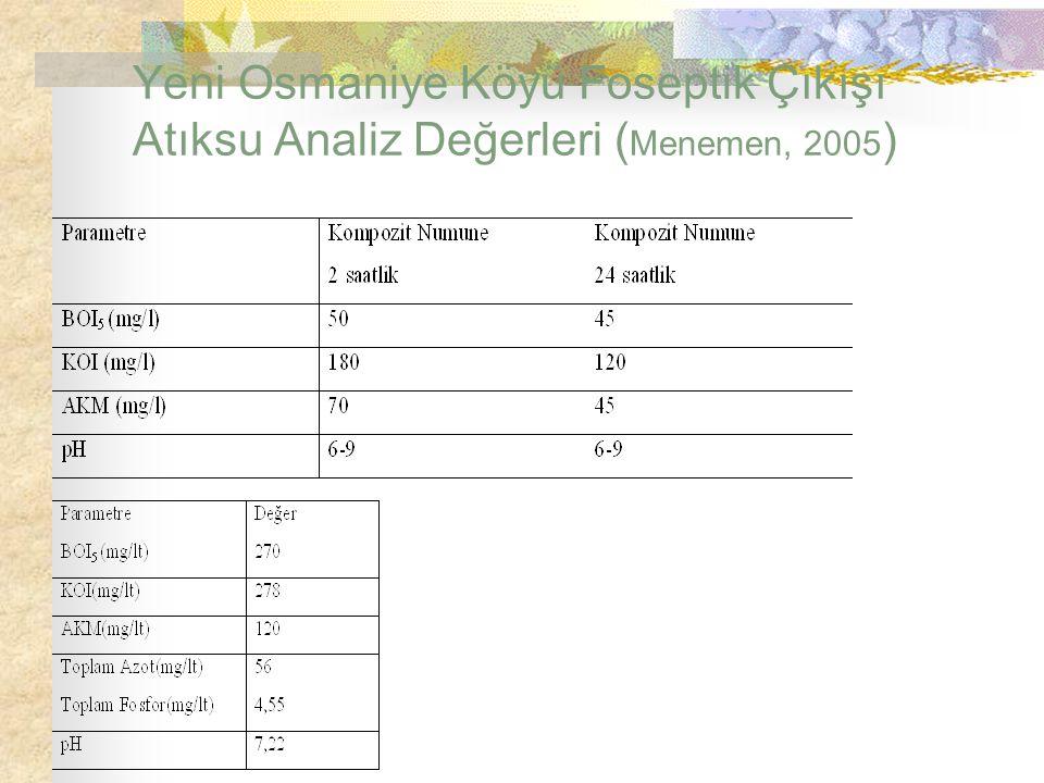 Yeni Osmaniye Köyü Foseptik Çıkışı Atıksu Analiz Değerleri ( Menemen, 2005 )