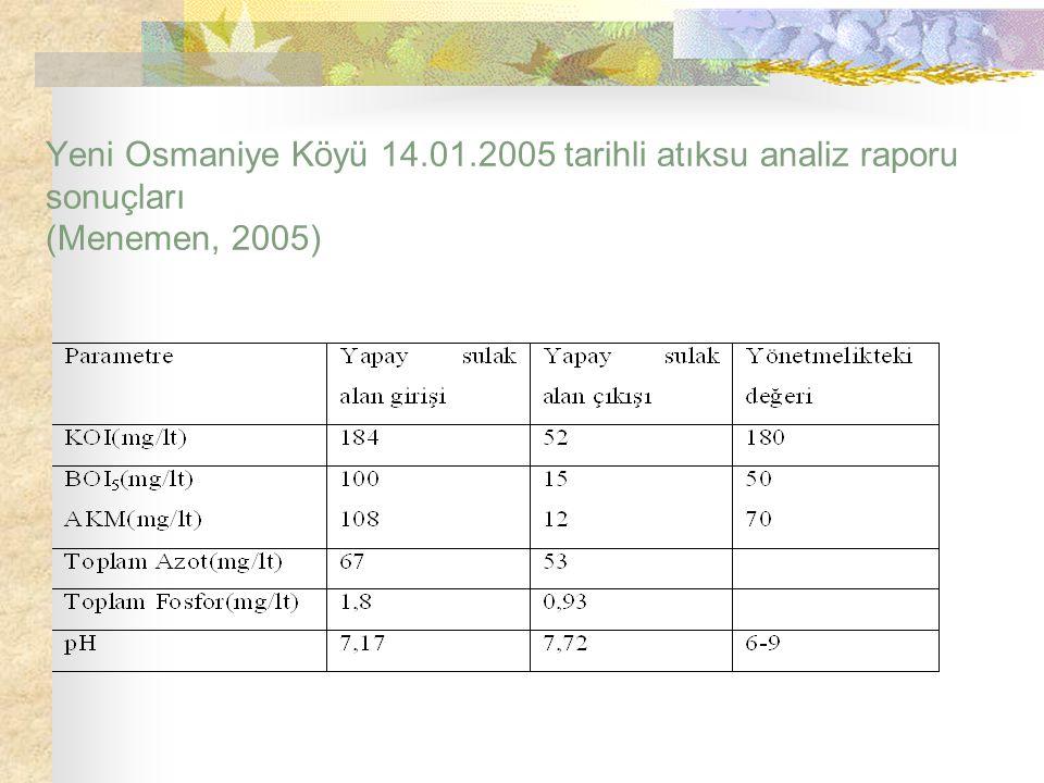 Yeni Osmaniye Köyü 14.01.2005 tarihli atıksu analiz raporu sonuçları (Menemen, 2005)