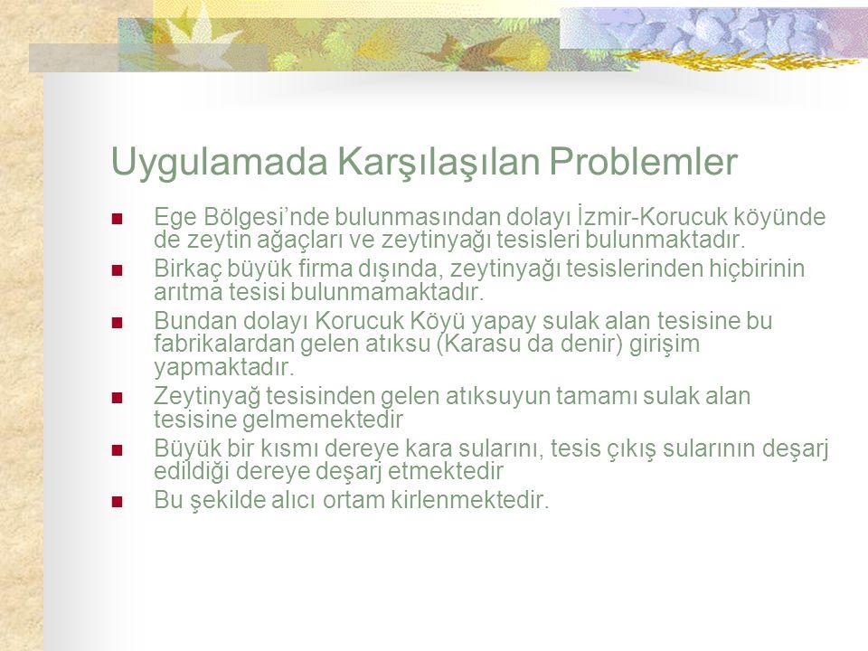 Uygulamada Karşılaşılan Problemler Ege Bölgesi'nde bulunmasından dolayı İzmir-Korucuk köyünde de zeytin ağaçları ve zeytinyağı tesisleri bulunmaktadır