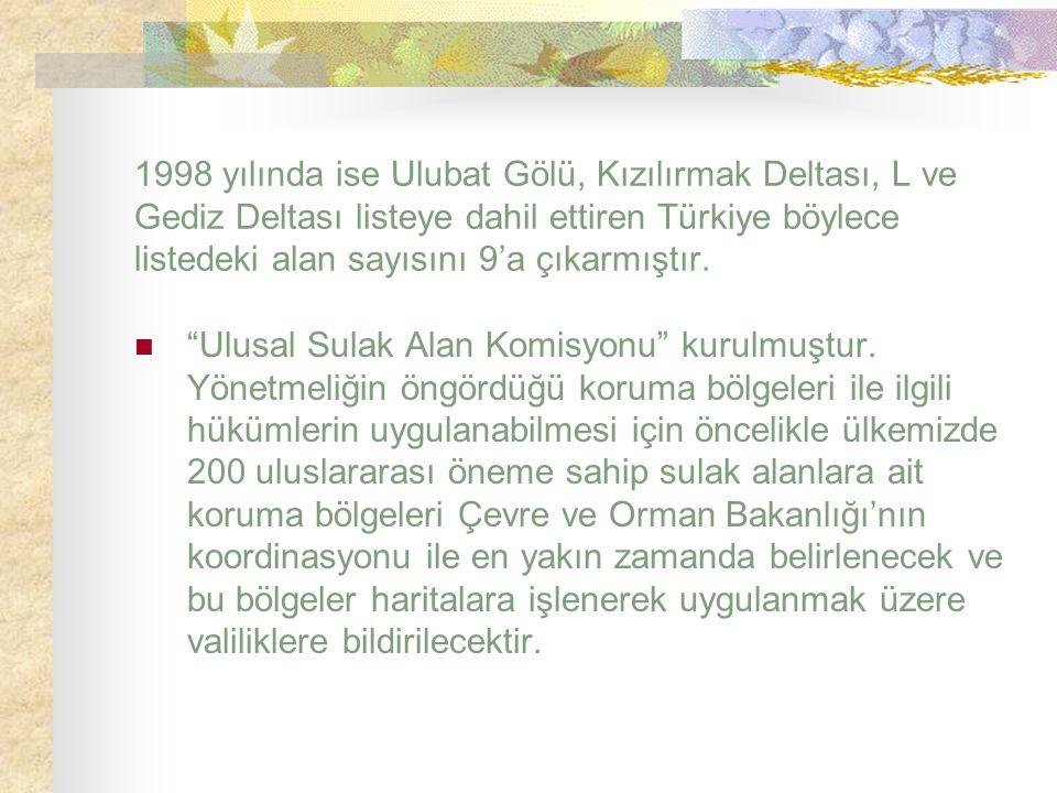 """1998 yılında ise Ulubat Gölü, Kızılırmak Deltası, L ve Gediz Deltası listeye dahil ettiren Türkiye böylece listedeki alan sayısını 9'a çıkarmıştır. """"U"""