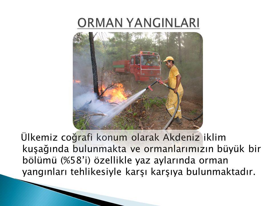 Ülkemiz coğrafi konum olarak Akdeniz iklim kuşağında bulunmakta ve ormanlarımızın büyük bir bölümü (%58'i) özellikle yaz aylarında orman yangınları te