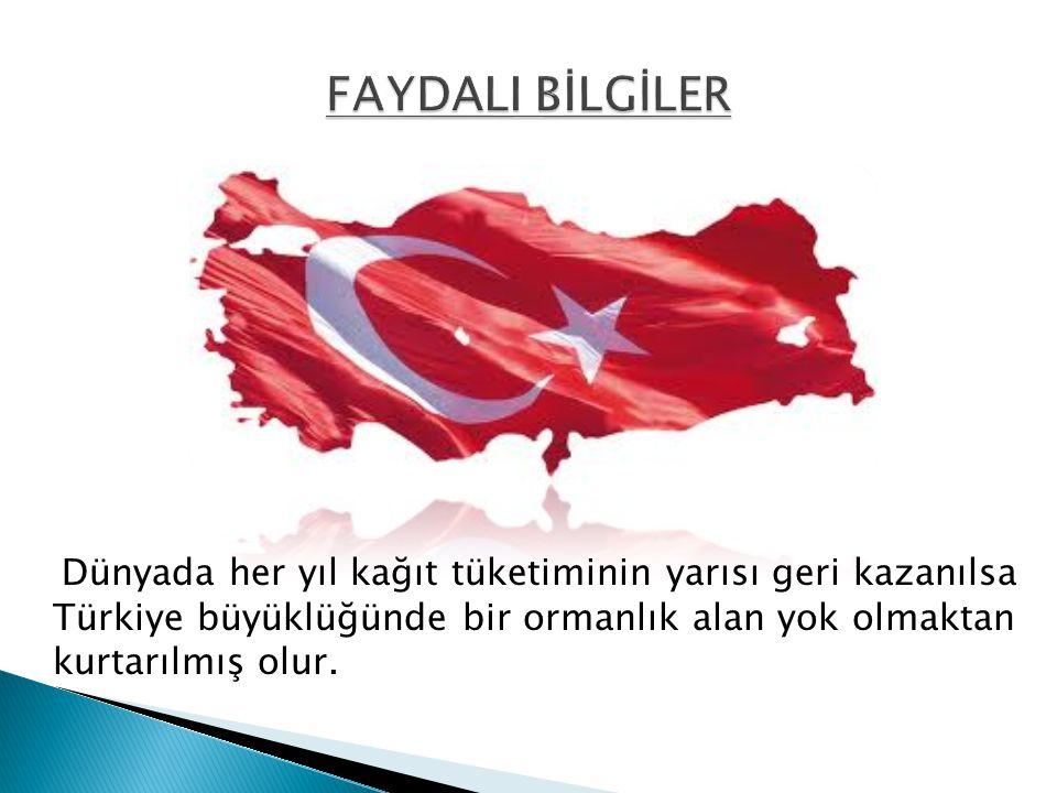 Dünyada her yıl kağıt tüketiminin yarısı geri kazanılsa Türkiye büyüklüğünde bir ormanlık alan yok olmaktan kurtarılmış olur.