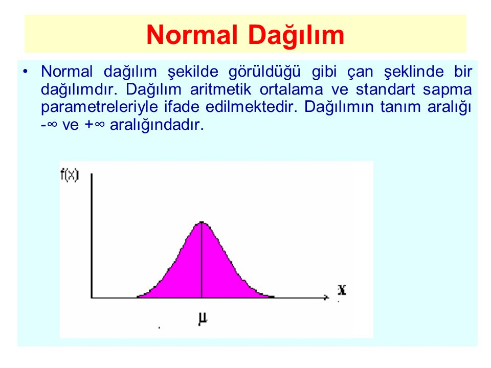 Normal Dağılım Normal dağılım şekilde görüldüğü gibi çan şeklinde bir dağılımdır. Dağılım aritmetik ortalama ve standart sapma parametreleriyle ifade