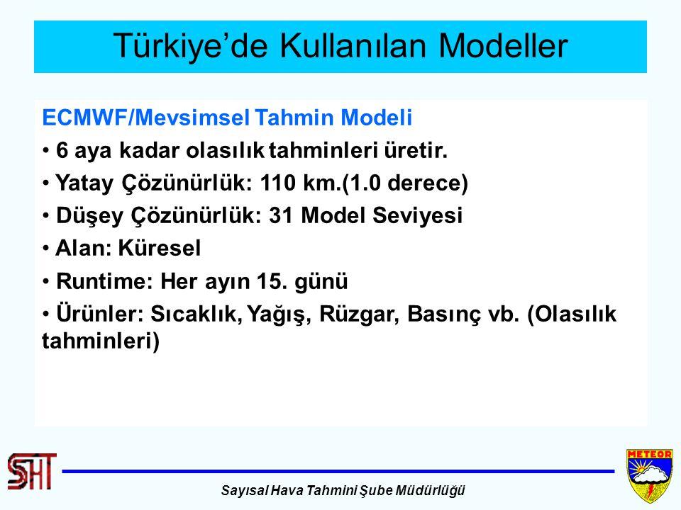 Sayısal Hava Tahmini Şube Müdürlüğü Türkiye'de Kullanılan Modeller ECMWF/Mevsimsel Tahmin Modeli 6 aya kadar olasılık tahminleri üretir. Yatay Çözünür