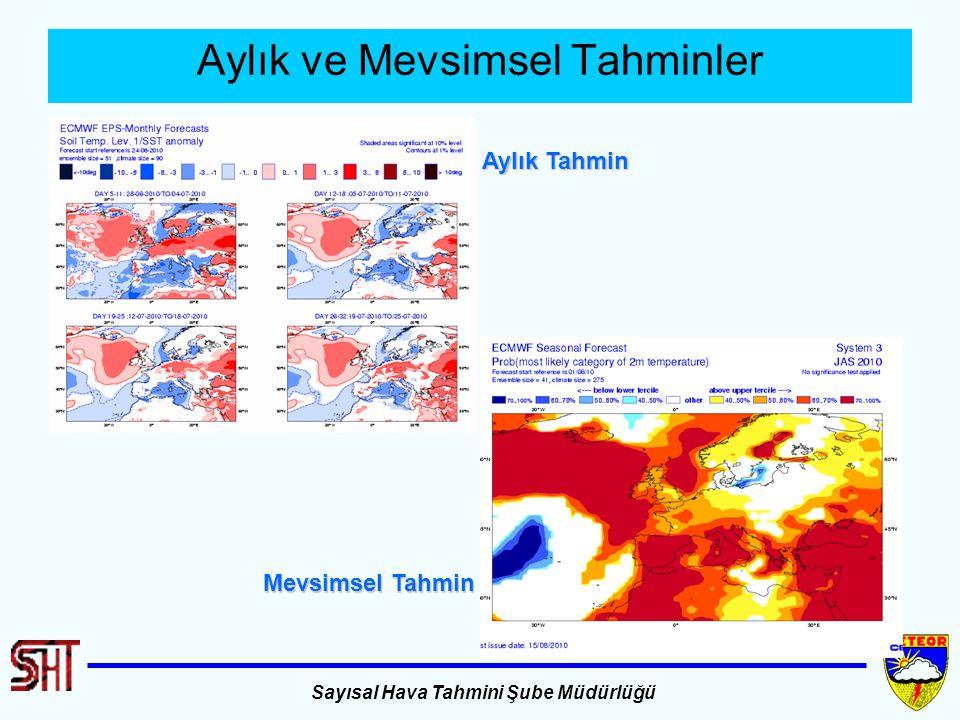 Sayısal Hava Tahmini Şube Müdürlüğü Aylık ve Mevsimsel Tahminler Aylık Tahmin Mevsimsel Tahmin