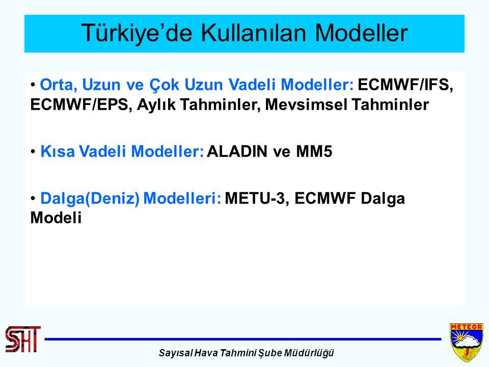 Sayısal Hava Tahmini Şube Müdürlüğü Türkiye'de Kullanılan Modeller Orta, Uzun ve Çok Uzun Vadeli Modeller: ECMWF/IFS, ECMWF/EPS, Aylık Tahminler, Mevs