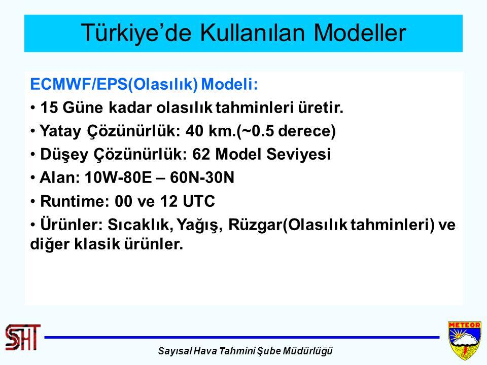 Sayısal Hava Tahmini Şube Müdürlüğü Türkiye'de Kullanılan Modeller ECMWF/EPS(Olasılık) Modeli: 15 Güne kadar olasılık tahminleri üretir. Yatay Çözünür